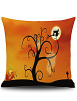 Halloween Tree Witch Square Linen  Decorative Throw Pillow Case  Cushion Cover