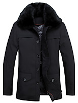 Men's Down Coat,Street chic Plus Size Solid-Polyester White Duck Down Long Sleeve Shirt Collar Black
