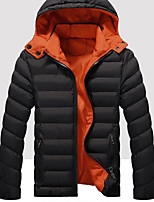Men's Regular Padded Coat,Simple Casual/Daily Solid-Cotton / Polyester Polypropylene Long Sleeve Hooded Blue / Red / Black / Green