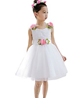 Girl's Going out Solid Dress,Cotton / Polyester Summer White / Yellow