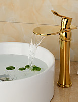 Waterfall Basin Faucet Golden Finish Vessel Sink Tap Hot&Cold Mixer Faucet