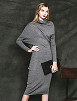MASKED QUEEN Women's Casual/Daily Simple Sheath DressSolid Turtleneck Knee-length Long Sleeve