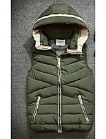 Men's Down Coat,Simple Casual/Daily Solid-Cotton Without Filling Material Sleeveless Hooded Blue / Green