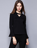 Women's Casual/Daily Simple Fall Set Pant Suits,Solid Asymmetrical Long Sleeve Black Cotton / Spandex Medium