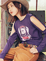 Aporia.As Women's Casual/Daily Street chic Fall T-shirtPrint Round Neck Long Sleeve Purple Polyester-MZ12060