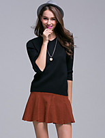 Women's Going out / Casual/Daily / Holiday Simple / Street chic / Active Regular Pullover,Solid Black V Neck ½ Length Sleeve AcrylicFall