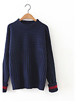 Women's Casual/Daily Cute Regular Pullover,Solid Blue / Pink / Brown Round Neck Long Sleeve Cashmere / Polyester Fall / Winter Medium