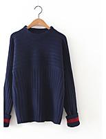 Для женщин На каждый день Очаровательный Обычный Пуловер Однотонный,Синий Розовый Коричневый Круглый вырез Длинный рукав Кашемир Полиэстер
