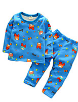 Boy's Casual/Daily Print Clothing Set / SleepwearCotton Spring / Fall Blue / Red