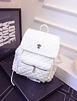 Women PU Casual Backpack White / Black