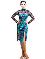 Latin Dance Dresses Performance Lace / Velvet Lace 1 Piece Long Sleeve Dress