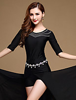 Belly Dance Dresses Performance Spandex Pleated 1 Piece Half Sleeve Natural Dress No Include Waist Chain