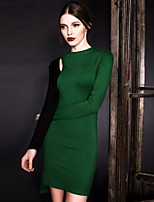 MASKED QUEEN Women's Going out Simple Shift DressSolid Round Neck Above Knee Long Sleeve Green Cotton High Rise