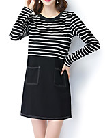 Women's Plus Size / Going out / Casual/Daily Street chic Loose / Shift DressStriped / Patchwork Long Sleeve Black