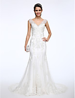 Lanting Bride® 트럼펫 / 머메이드 웨딩 드레스 코트 트레인 V-넥 레이스 와 아플리케 / 비즈 / 버튼