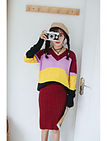 2016 new South Korean women's new fall hit color striped V-neck sweater knit shirt