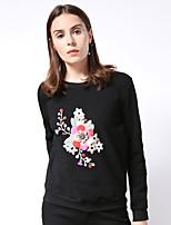 Tee-shirt Femme,Broderie Sortie Chinoiserie Hiver Manches Longues Col Arrondi Noir Coton / Spandex Moyen