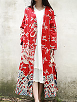 Cynthia Women's Casual/Daily Chinoiserie Trench CoatPrint V Neck Long Sleeve Spring / Fall Red Cotton