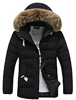 Men's Regular Padded Coat,Simple Casual/Daily Solid-Cotton Polypropylene Long Sleeve Hooded Blue / Black