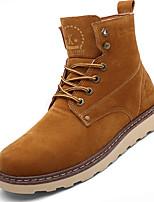 Черный / Желтый-Мужской-Для прогулок / На каждый день / Для занятий спортом-Кожа-На плоской подошве-Удобная обувь-Ботинки