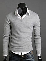 Men's Going out / Casual/Daily / Work Simple / Street chic Regular Pullover,Solid Red / Black / Brown / Gray / Yellow / Purple V NeckLong