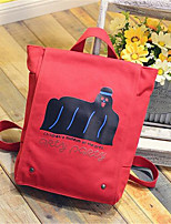 Women Canvas Casual Backpack Red / Black