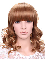 Long Wavy Hair Wig with Bangs Strawberry Blonde Color Synthetic Wigs for Women