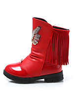 Girl's Boots Winter Comfort PU Dress / Casual Flat Heel Bowknot / Zipper / Tassel Black / Pink / Red Walking