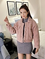 Women's Casual/Daily Cute Jackets,Solid Long Sleeve Fall / Winter Pink / Gray Polyester Medium