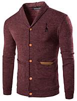 Herren Standard Strickjacke-Lässig/Alltäglich Sport Einfach Aktiv Solide Rot Grau V-Ausschnitt Langarm Baumwolle Acryl Herbst Winter