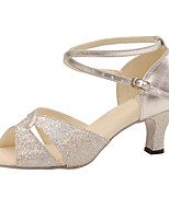 Customizable Women's Silver Ballroom Latin Dance Shoes Leatherette / Sparkling Glitter Swing Shoes / Salsa Sandals