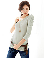 Women's Going out / Casual/Daily / Holiday Sexy / Vintage / Sophisticated All Seasons T-shirt,Solid One Shoulder ¾ Sleeve Pink / Gray
