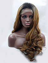 оптовые два тона Ombre коричневого тела волны бесклеевой синтетический парик фронта шнурка