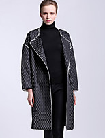 CARBAMMI  Women's Going out Vintage CoatPolka Dot Shirt Collar Long Sleeve Fall Black Polyester Opaque