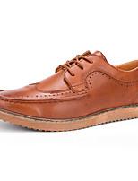 Черный / Коричневый / Хаки-Мужской-Для прогулок / Для офиса / На каждый день-Кожа-На плоской подошве-Others-Туфли на шнуровке