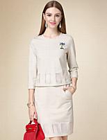 DOF Women's Casual/Daily Simple Fall Set SkirtPrint Round Neck  Sleeve Beige Cotton Medium