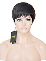 Short Human Hair Capless Wigs Short Brazilian  Hiar Straight Wigs for Black Women Natural Brown Color