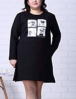 Damen Hülle Kleid-Ausgehen / Übergröße Einfach Druck Rundhalsausschnitt Übers Knie Langarm Schwarz Baumwolle / Polyester Herbst / Winter
