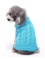 Cat Dog Sweater Dog Clothes Winter Solid Casual/Daily Red Blue Pink