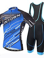 Xintown Men's Breathable Printing Cycling Short Sleeve Jersey and 3D Padded Shorts Set Blue