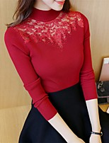 Women's Casual/Daily Simple / Cute Regular Pullover,Solid Red / Black / Gray Crew Neck Long Sleeve Cotton / Polyester Fall / Winter Medium
