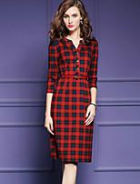 Women's Plus Size Sophisticated Sheath DressPlaid V Neck Knee-length  Sleeve Multi-color Cotton Spring / Fall Mid Rise