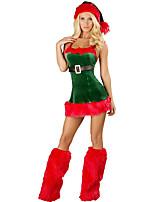 Fantasias de Cosplay Ternos de Papai Noel Cosplay de Filmes Verde Cor Única Vestido / Chapéus Natal Feminino Poliéster