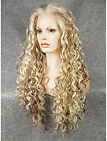IMSTYLE 26''Fashion Mix Blonde Long Curly Synthetic Wigs Lace Front For Black Women