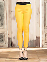 I'HAPPY Women's Solid Blue / Yellow Skinny PantsSimple Spring / Fall