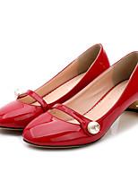 Черный / Розовый / Красный / Серый-Женский-На каждый день-Дерматин-На толстом каблуке-Удобная обувь-Обувь на каблуках