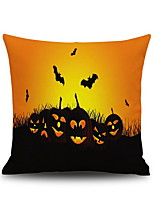 Halloween Pumpkin & Bat Square Linen  Decorative Throw Pillow Case Cushion Cover