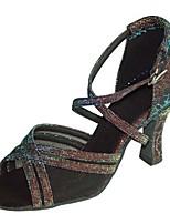 Customizable Women's Ballroom Dance Shoes Satin / Sparkling Glitter Latin / Salsa Sandals / Heels Customized Heel