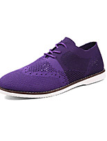 Men's Sneakers Spring Fall Comfort PU Casual Flat Heel Lace-up Black Blue Purple Red