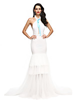 TS Couture® Formal Evening Dress Fit & Flare Halter Court Train Tulle with Bow(s) / Tassel(s)
